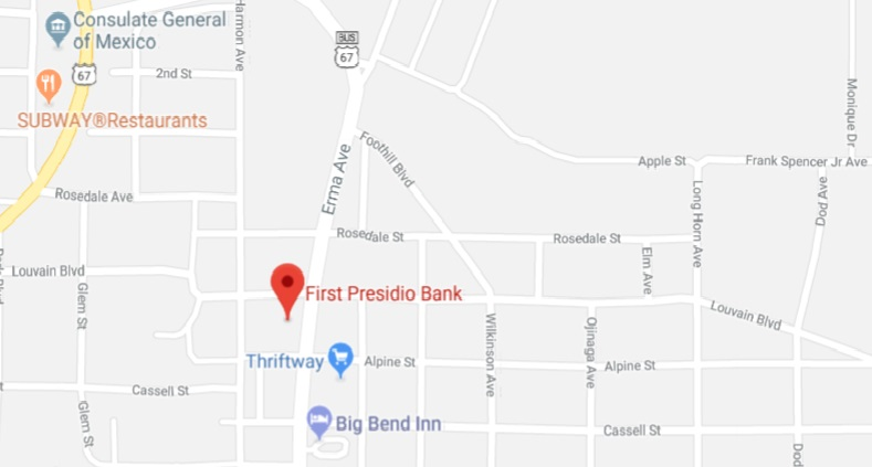 First Presidio Bank Map and Directions
