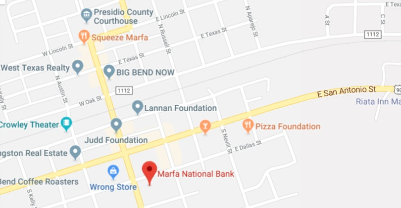 Marfa National Bank Map and Directions